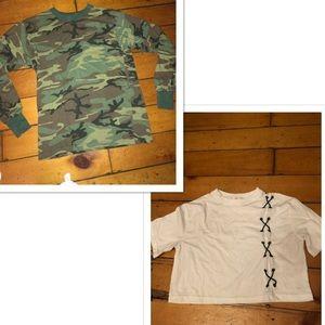 BUNDLE DEAL- long sleeved chamo shirt + white crop